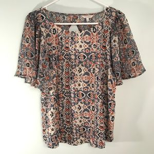 Lucky Brand Peasant Blouse Large Blue Orange Navy
